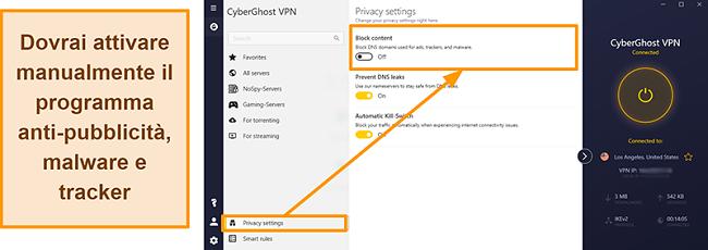 Screenshot della pubblicità, tracker e malware blocker di CyberGhost VPN