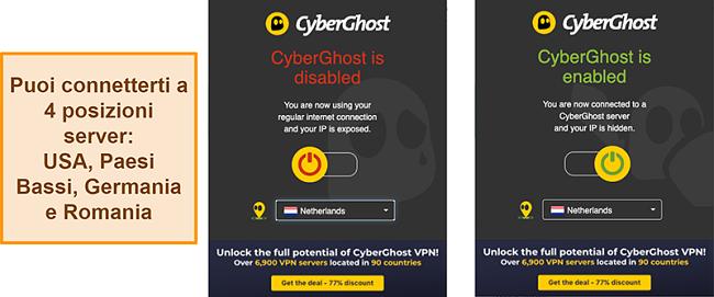 Screenshot dell'estensione del browser CyberGhost VPN