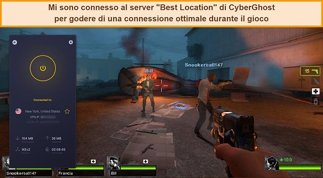 Screenshot dell'utente connesso al server statunitense di CyberGhost VPN durante il gioco online