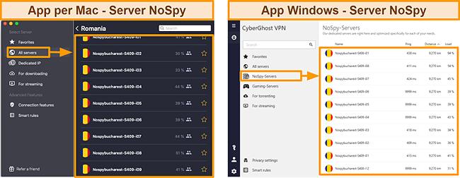Screenshot dei server NoSpy di CyberGhost VPN sull'app Windows rispetto a quella per Mac