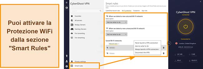 Screenshot della funzione di protezione WiFi di CyberGhost VPN
