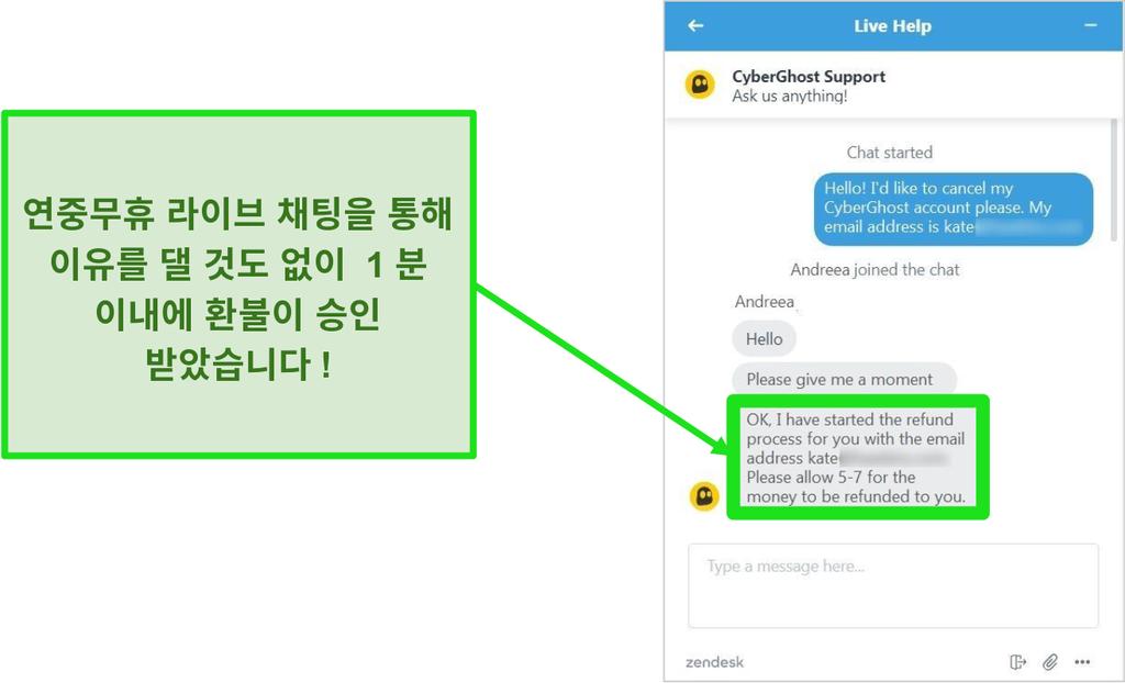 24/7 라이브 채팅을 통해 45 일 환불 보장으로 환불을 승인 한 CyberGhost의 고객 지원 담당자 스크린 샷