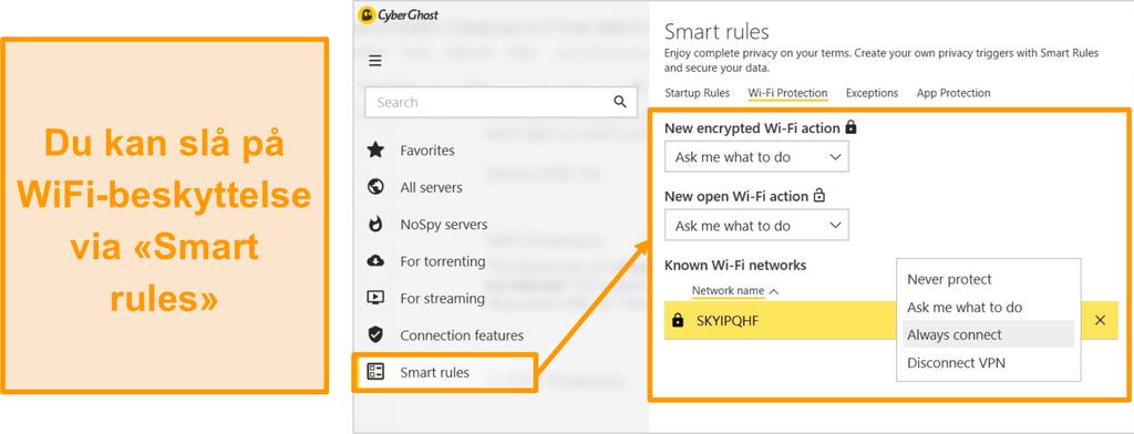 Skjermbilde av CyberGhost WiFi-beskyttelsesfunksjon