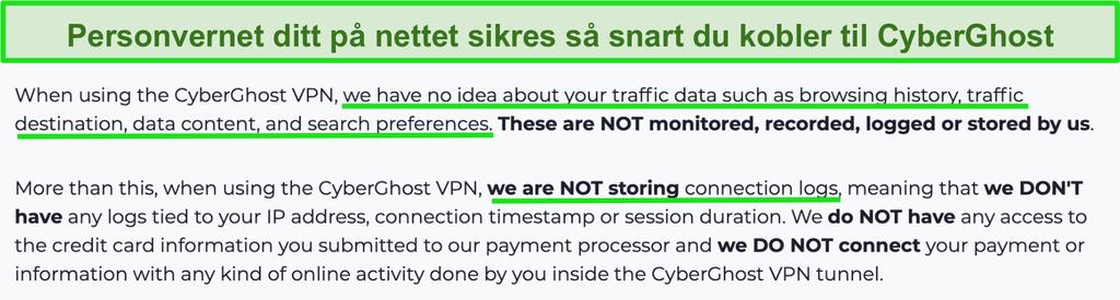 Skjermbilde av CyberGhost VPN personvernerklæring på nettstedet