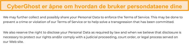 Skjermbilde av CyberGhost sin personvernpolicy på nettstedet sitt som sier at VPN samler inn noen personlige data