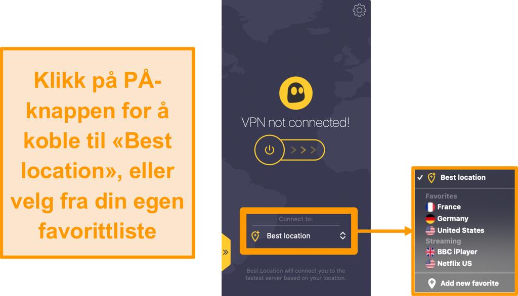 Skjermbilde av CyberGhost VPN hurtigkobling