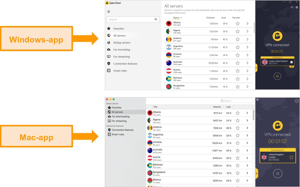 Sammenligning av CyberGhost VPN-apper for Windows og Mac
