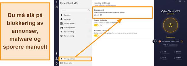 Skjermbilde av CyberGhost VPNs annonse-, tracker- og malware-blokkering