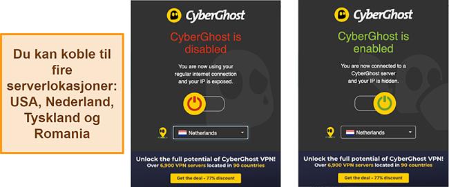 Skjermbilde av nettleserutvidelsen CyberGhost VPN
