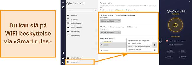 Skjermbilde av CyberGhost VPNs WiFi-beskyttelsesfunksjon
