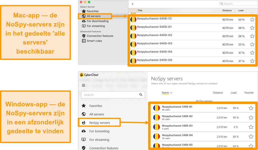 Screenshot van CyberGhost VPN NoSpy-servers op de Windows- en Mac-apps