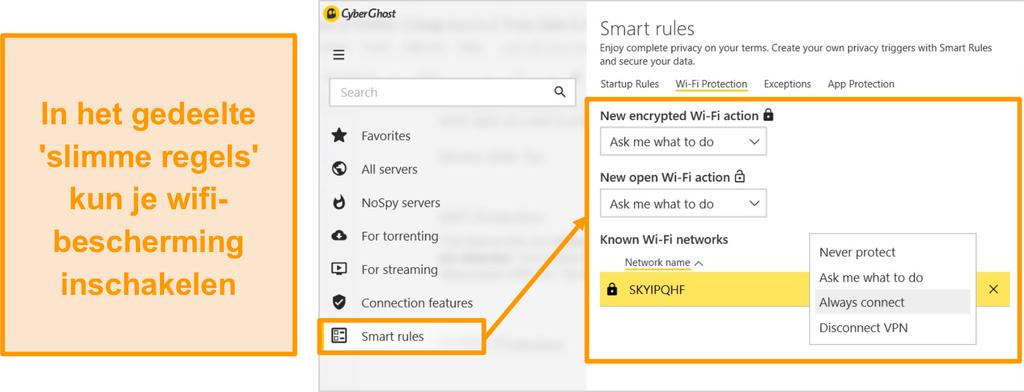 Screenshot van de CyberGhost WiFi-beveiligingsfunctie