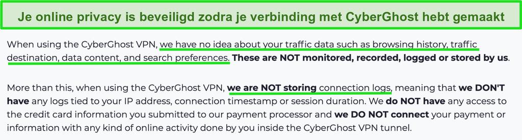 Screenshot van de privacyverklaring van CyberGhost VPN op zijn website