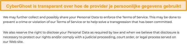 Screenshot van het privacybeleid van CyberGhost op zijn website waarin staat dat de VPN enkele persoonlijke gegevens verzamelt