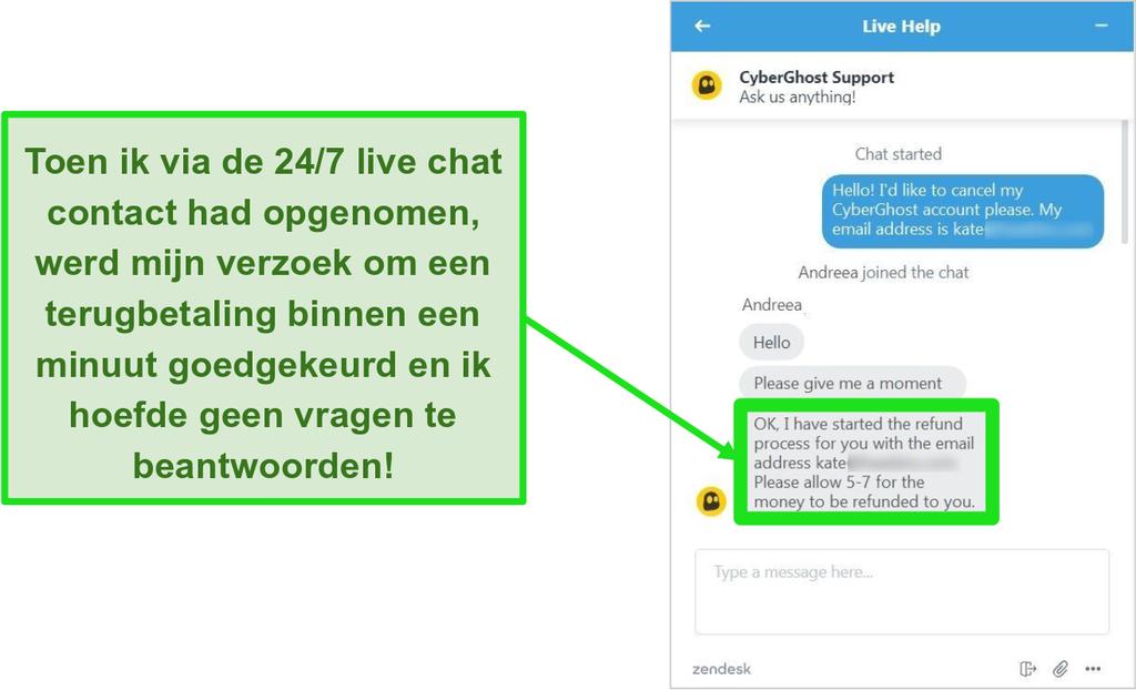 Screenshot van de klantenservicemedewerker van CyberGhost die een terugbetaling goedkeurt met de 45 dagen geld-terug-garantie via 24/7 live chat