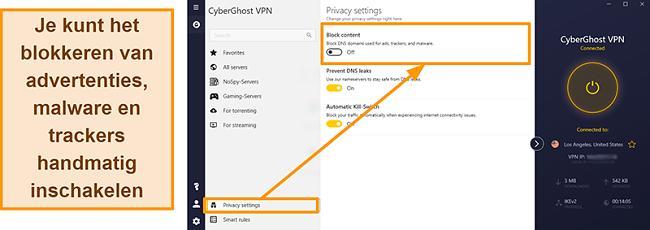 Schermafbeelding van de advertentie, tracker en malwareblokker van CyberGhost VPN