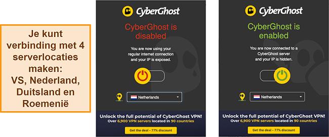 Screenshot van de CyberGhost VPN-browserextensie
