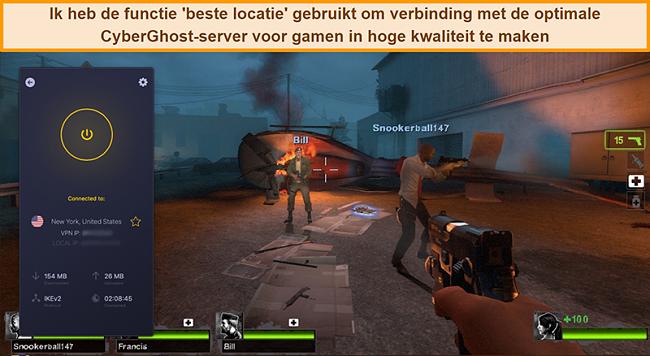 Schermafbeelding van de gebruiker die is verbonden met de Amerikaanse server van CyberGhost VPN tijdens het online gamen