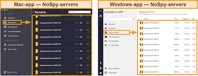 Screenshot van de NoSpy-servers van CyberGhost VPN in de Windows versus Mac-app