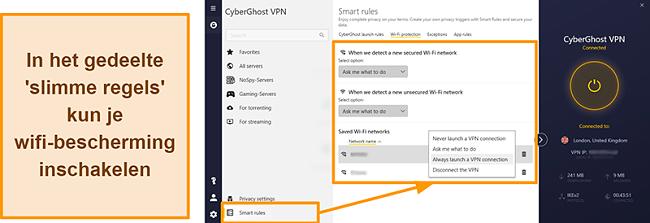 Screenshot van de WiFi-beschermingsfunctie van CyberGhost VPN