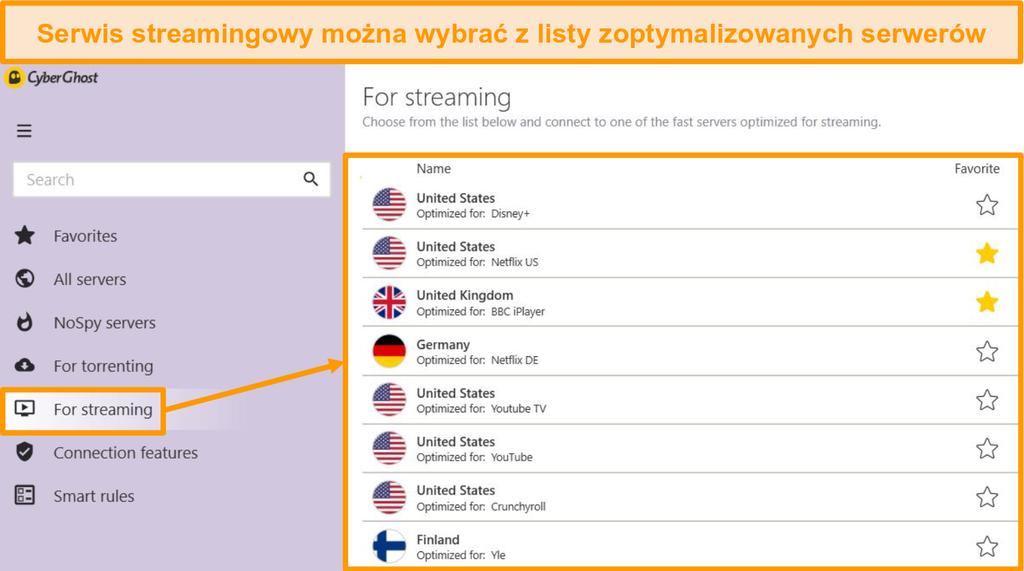 Zrzut ekranu zoptymalizowanych serwerów strumieniowych CyberGhost w aplikacji Windows