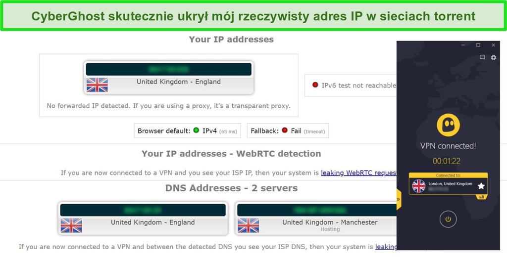 Zrzut ekranu z wynikami testu szczelności podczas połączenia z serwerem torrentowym CyberGhost VPN w Wielkiej Brytanii