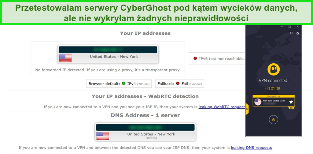 Zrzut ekranu przedstawiający wynik testu wycieku adresu IP i DNS, gdy CyberGhost jest połączony z serwerem w USA