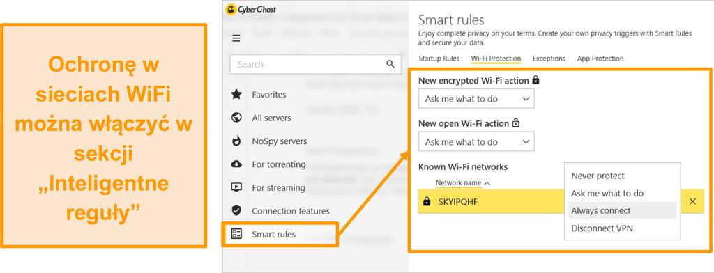 Zrzut ekranu przedstawiający funkcję ochrony CyberGhost WiFi