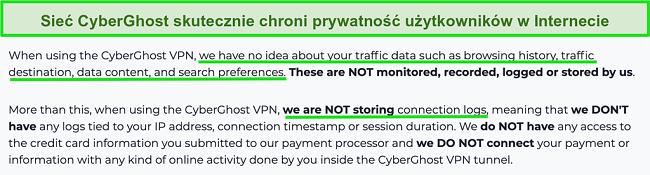 Zrzut ekranu przedstawiający oświadczenie dotyczące prywatności CyberGhost VPN na swojej stronie internetowej