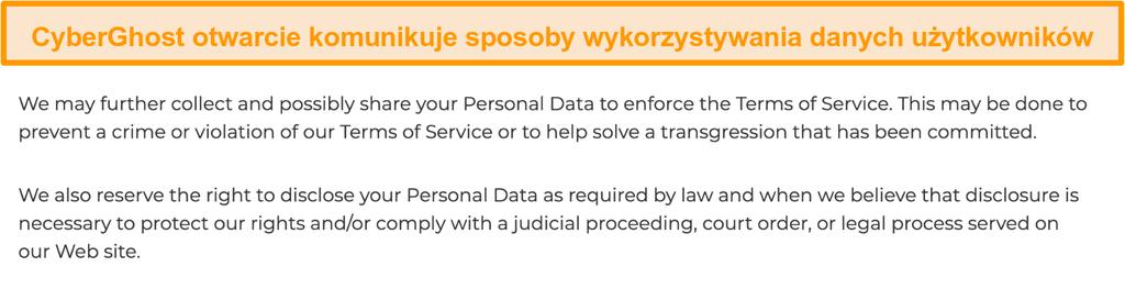 Zrzut ekranu przedstawiający politykę prywatności CyberGhost na swojej stronie internetowej, z której wynika, że VPN gromadzi pewne dane osobowe