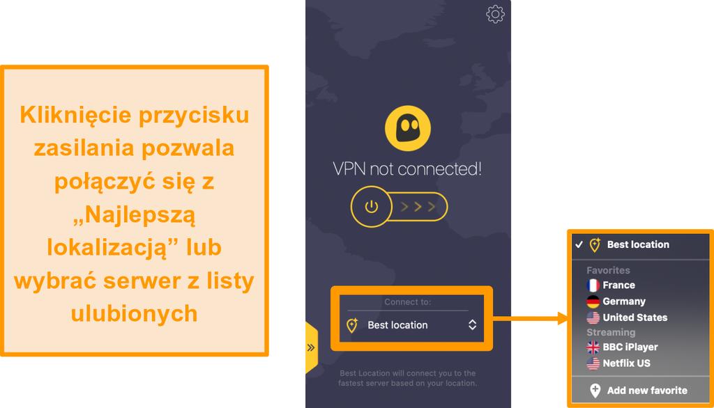 """Zrzut ekranu przedstawiający przycisk szybkiego połączenia CyberGhost VPN """"Najlepsza lokalizacja"""" w aplikacji Mac"""