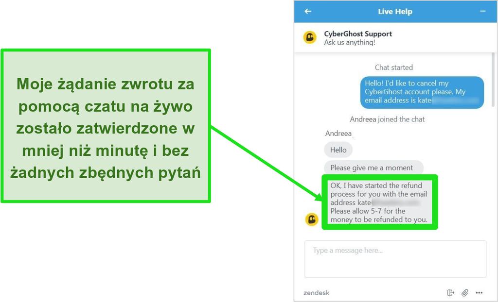 Zrzut ekranu przedstawiający przedstawiciela obsługi klienta CyberGhost zatwierdzającego zwrot pieniędzy z 45-dniową gwarancją zwrotu pieniędzy przez czat na żywo 24/7
