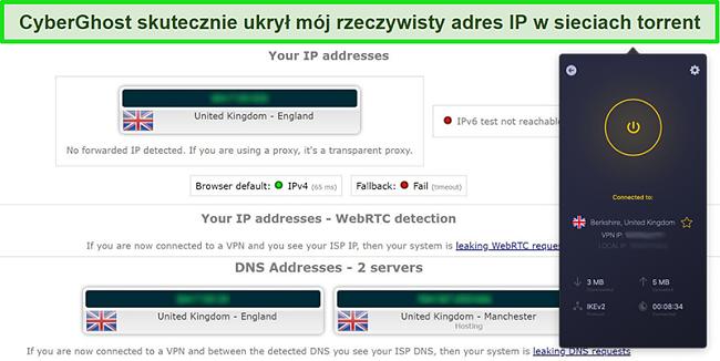 Zrzut ekranu przedstawiający połączenie CyberGhost VPN z serwerem w Wielkiej Brytanii i pomyślne przejście testu szczelności IP