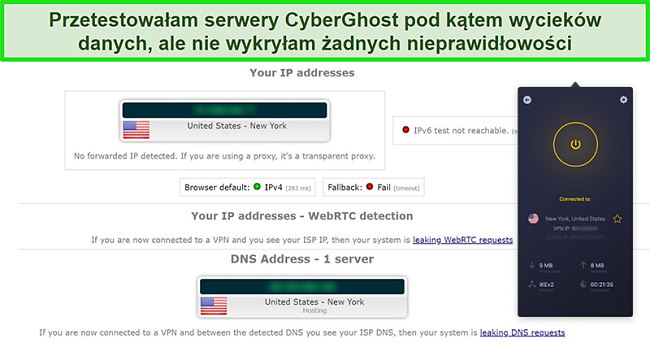 Zrzut ekranu przedstawiający połączenie CyberGhost VPN z serwerem w USA i pomyślne przejście testu szczelności IP