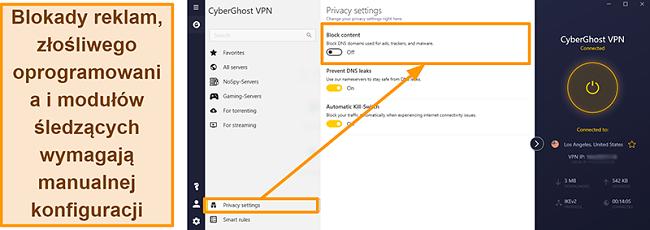 Zrzut ekranu przedstawiający blokadę reklam, modułu śledzącego i złośliwego oprogramowania CyberGhost VPN