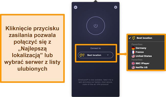 Zrzut ekranu przedstawiający funkcję Najlepszej lokalizacji CyberGhost VPN w aplikacji