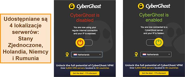 Zrzut ekranu rozszerzenia przeglądarki CyberGhost VPN