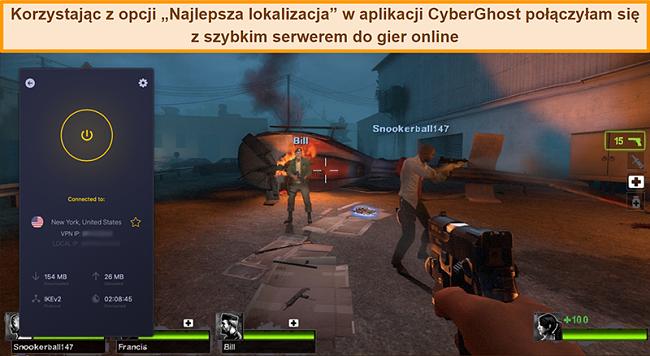 Zrzut ekranu przedstawiający użytkownika połączonego z serwerem CyberGhost VPN w USA podczas gry online