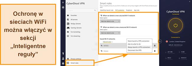 Zrzut ekranu przedstawiający funkcję ochrony Wi-Fi CyberGhost VPN