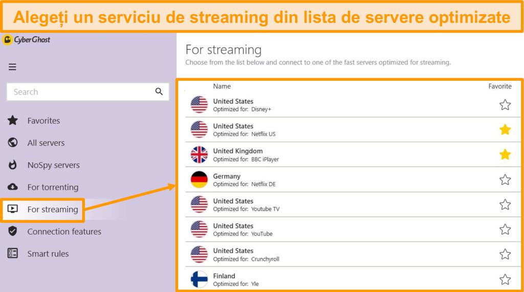 Captură de ecran a serverelor de streaming optimizate ale CyberGhost din aplicația Windows