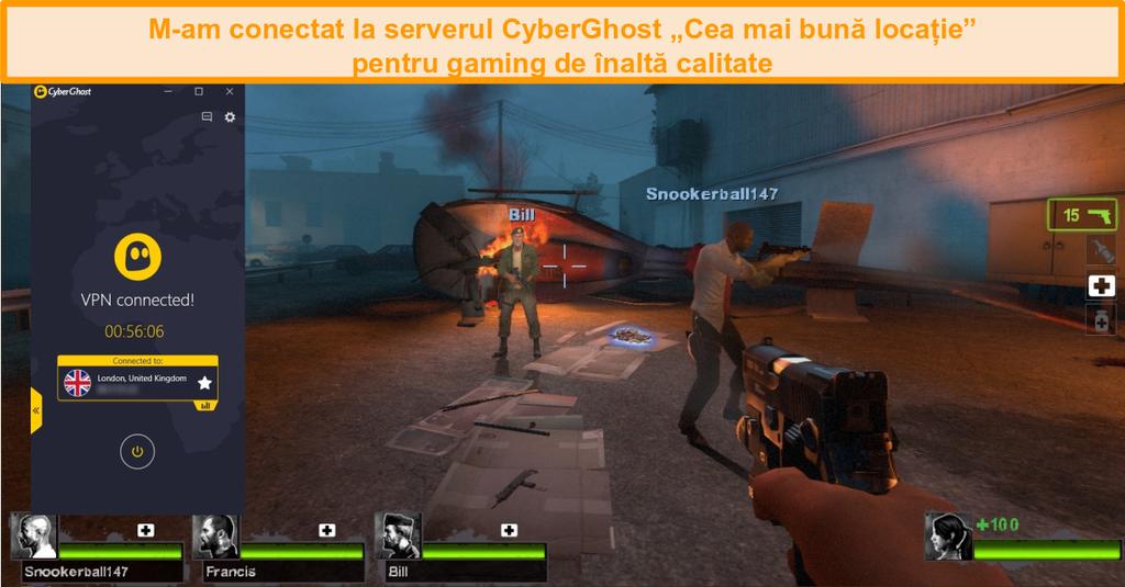 Captură de ecran a Left 4 Dead 2 jucând cu CyberGhost conectat la un server din Marea Britanie