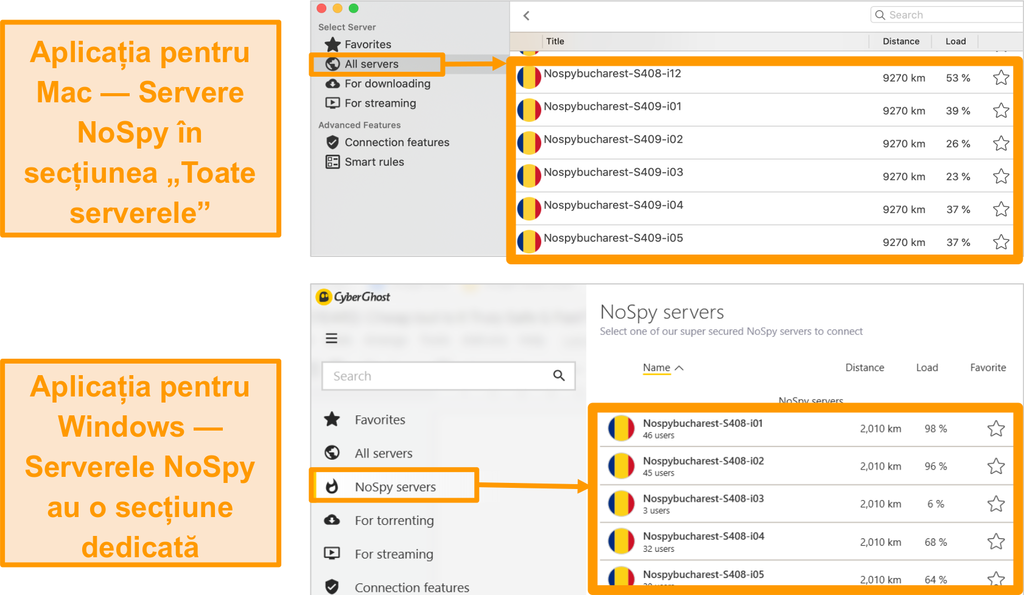 Captură de ecran a serverelor CyberGhost VPN NoSpy din aplicațiile Windows și Mac