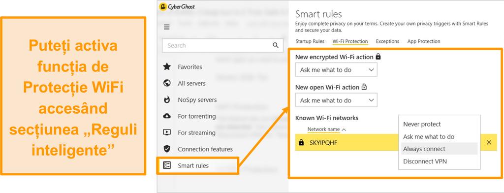 Captură de ecran a funcției de protecție WiFi CyberGhost