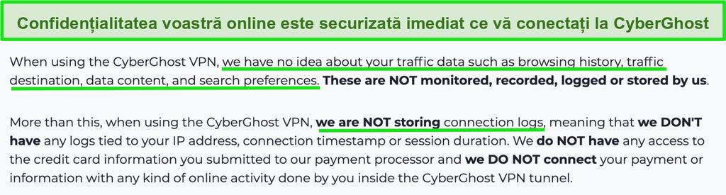 Captură de ecran a declarației de confidențialitate CyberGhost VPN pe site-ul său web