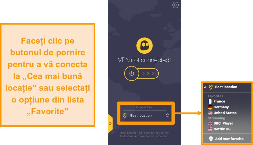 """Captură de ecran a butonului """"Cea mai bună locație"""" de conectare rapidă CyberGhost VPN din aplicația Mac"""