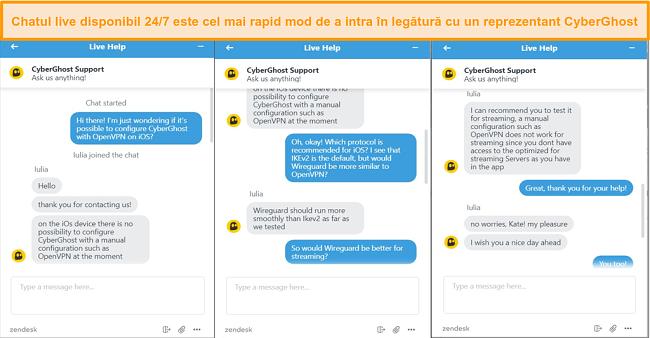 Captură de ecran a chatului live CyberGhost