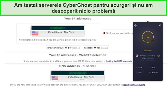 Captură de ecran a CyberGhost VPN conectat la un server din SUA și care trece cu succes un test de scurgere IP