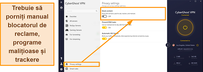Captură de ecran a anunțului, urmăritorului și blocatorului de programe malware CyberGhost VPN