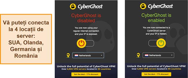 Captură de ecran a extensiei de browser CyberGhost VPN
