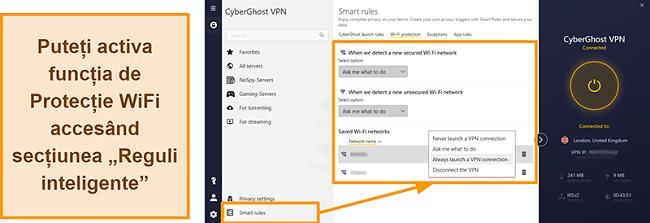 Captură de ecran a funcției de protecție WiFi a CyberGhost VPN
